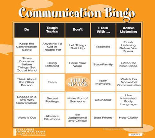Communication Bingo Game – Communication Skills Worksheets for Adults