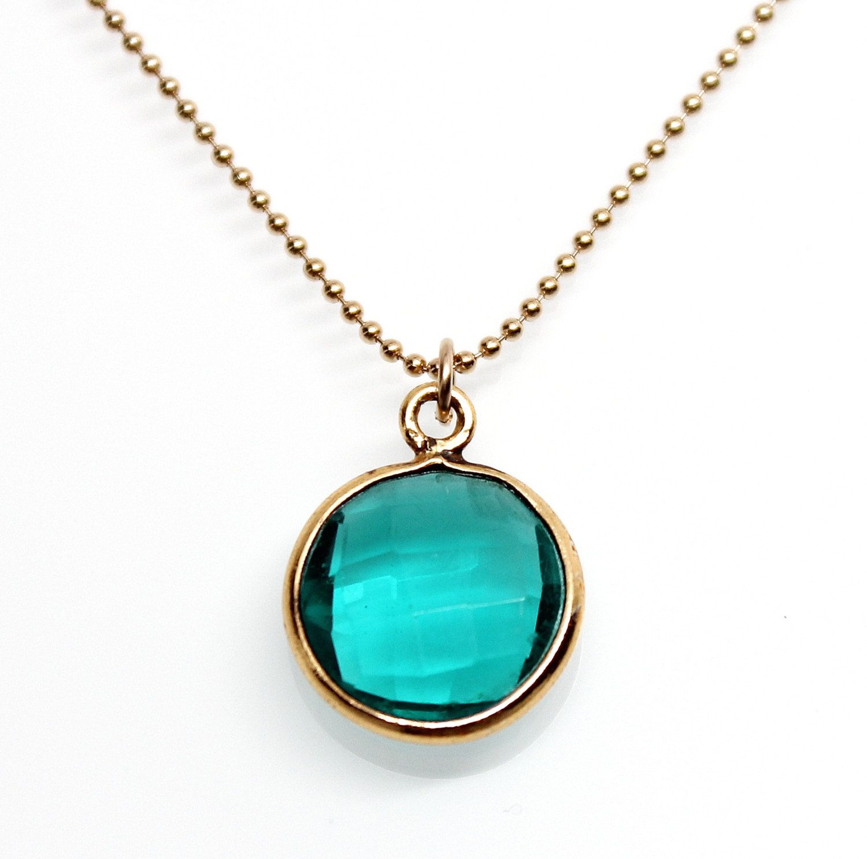 K gold vermeil bezel set teal quartz gemstone ball chain pendant