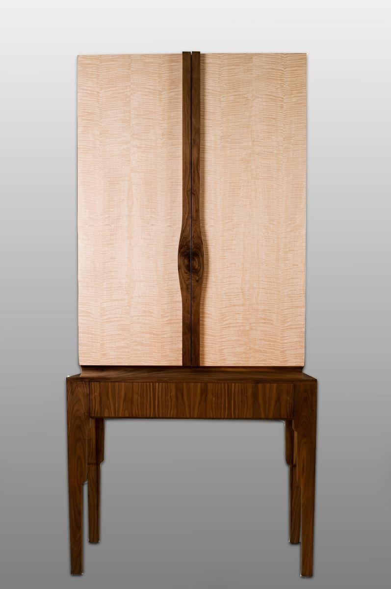Curly Anigre Cabinet On Walnut Base