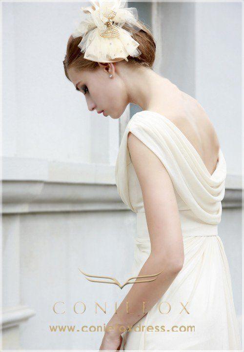 detail of draped Wedding Dress