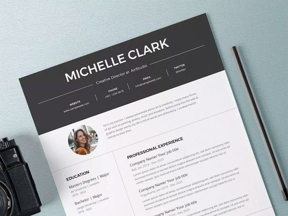 Free Creative Resume Template in PSD and AI file format