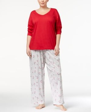 Charter Club Plus Size Lurex-Threaded Cotton Pajama Set, Created for Macy's - Gray 1X