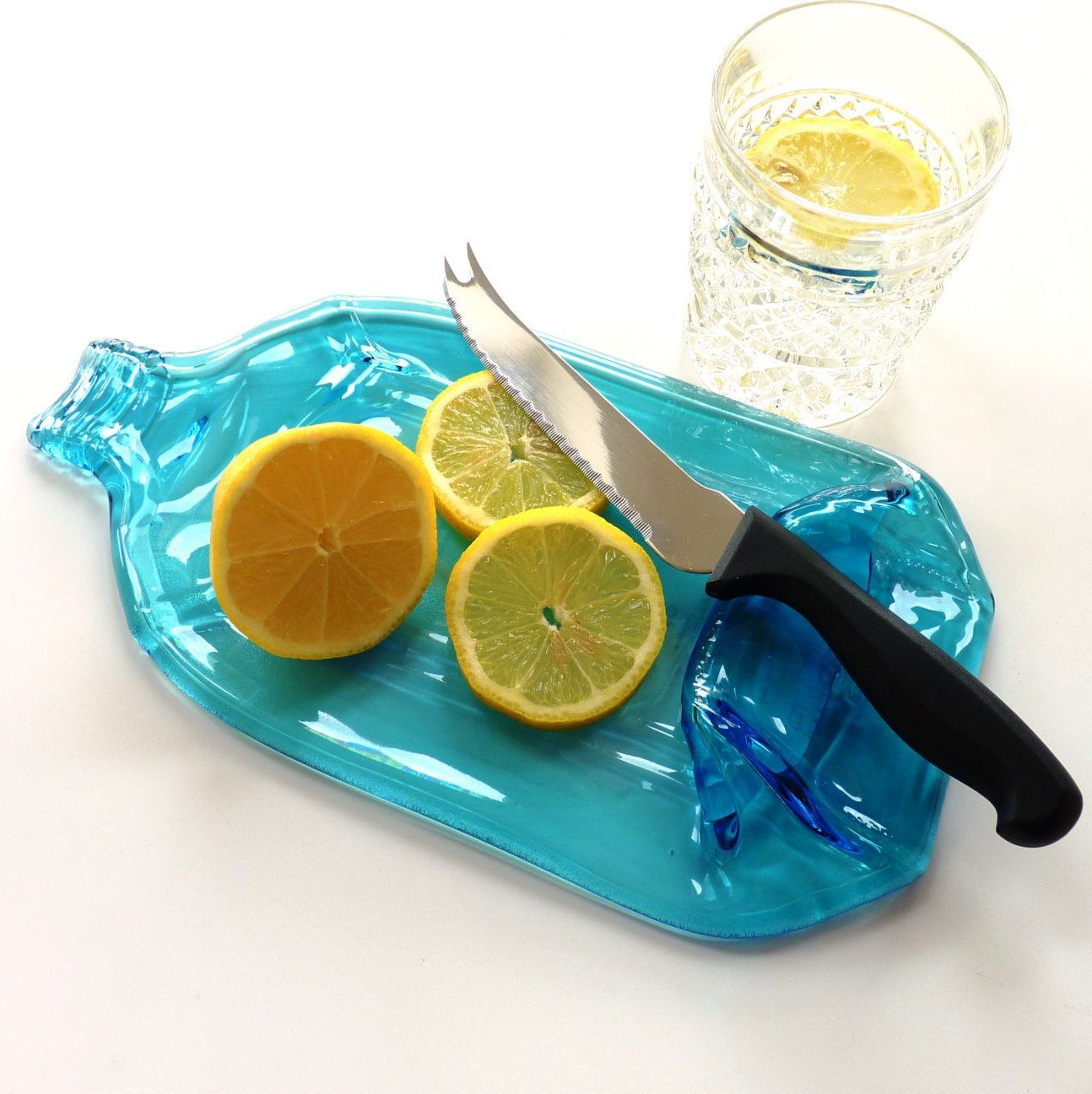 Flat bottle gin bottle cheese board blue glass bottle