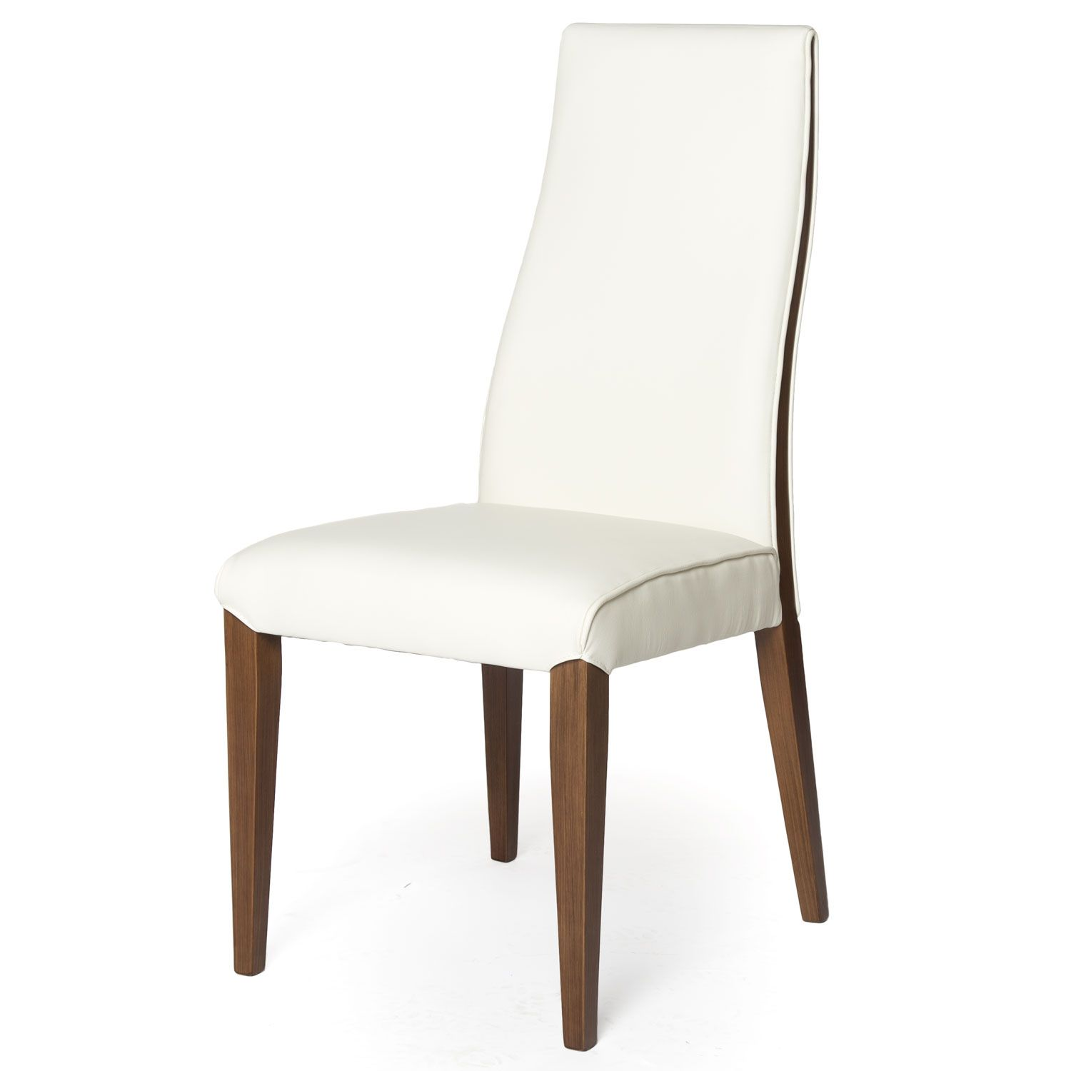 Real Leather Dining Chair With Solid Wood Legs Contemporary