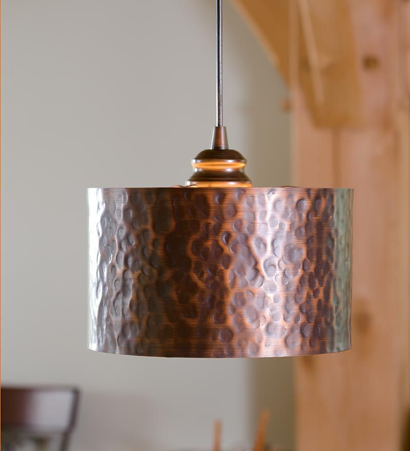 Screw In Hammered Copper Drum Pendant Shade Copper Lighting Copper Light Fixture Copper Pendant Lights