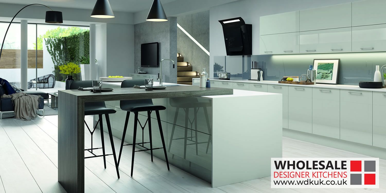Vivo light grey kitchens u gloss kitchen cabinets vivo gloss light