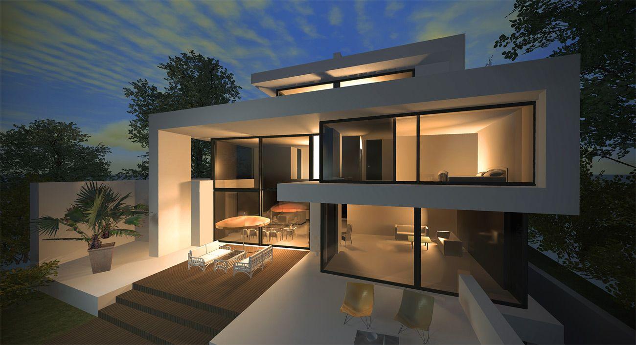 Neubau Stadtvilla modernes Design / Luxus Architektur   Bauhaus ...
