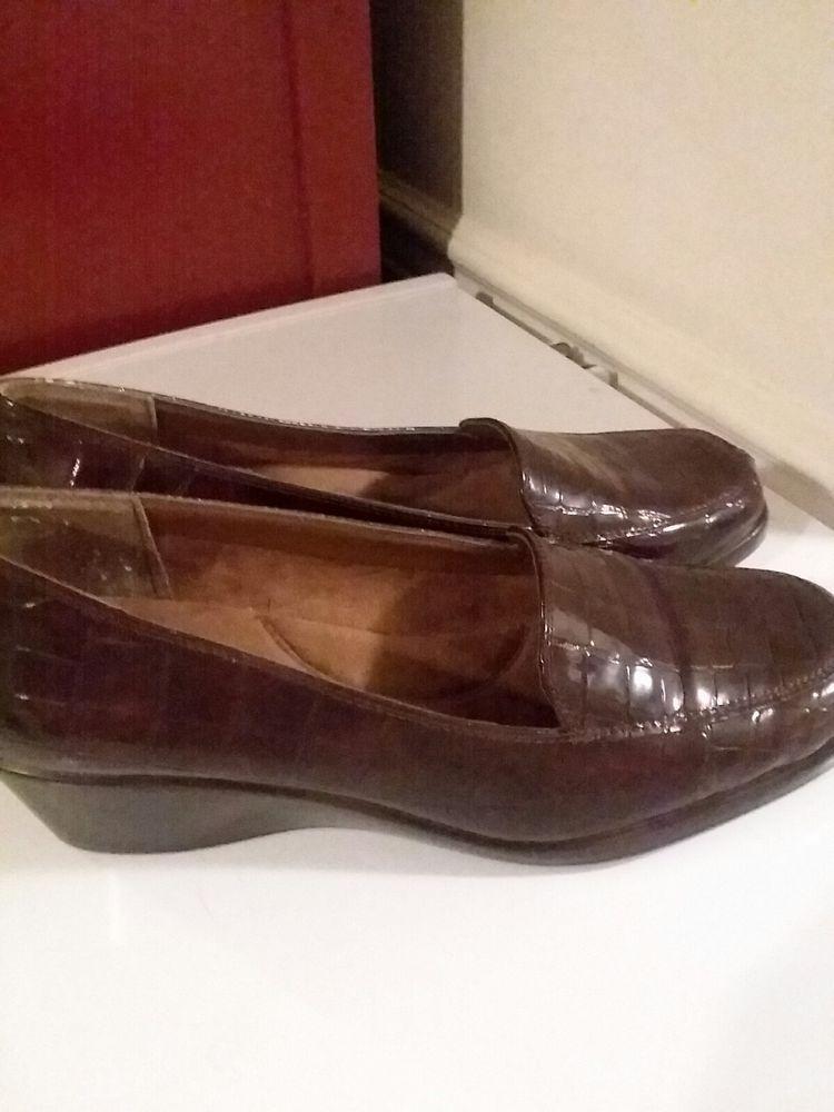 3ebdbbcc142 Aerosole Womens Shoe Size 8 1 2 Brown Wedge Heel Final Exam Man Made  Materials  Aerosoles  Loafers