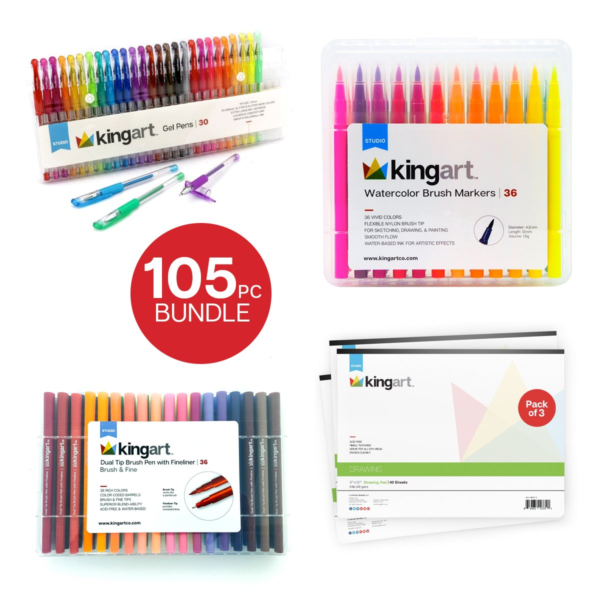 Studio Markers Gel Pens And Drawing Mixed Media Pad Value Pack