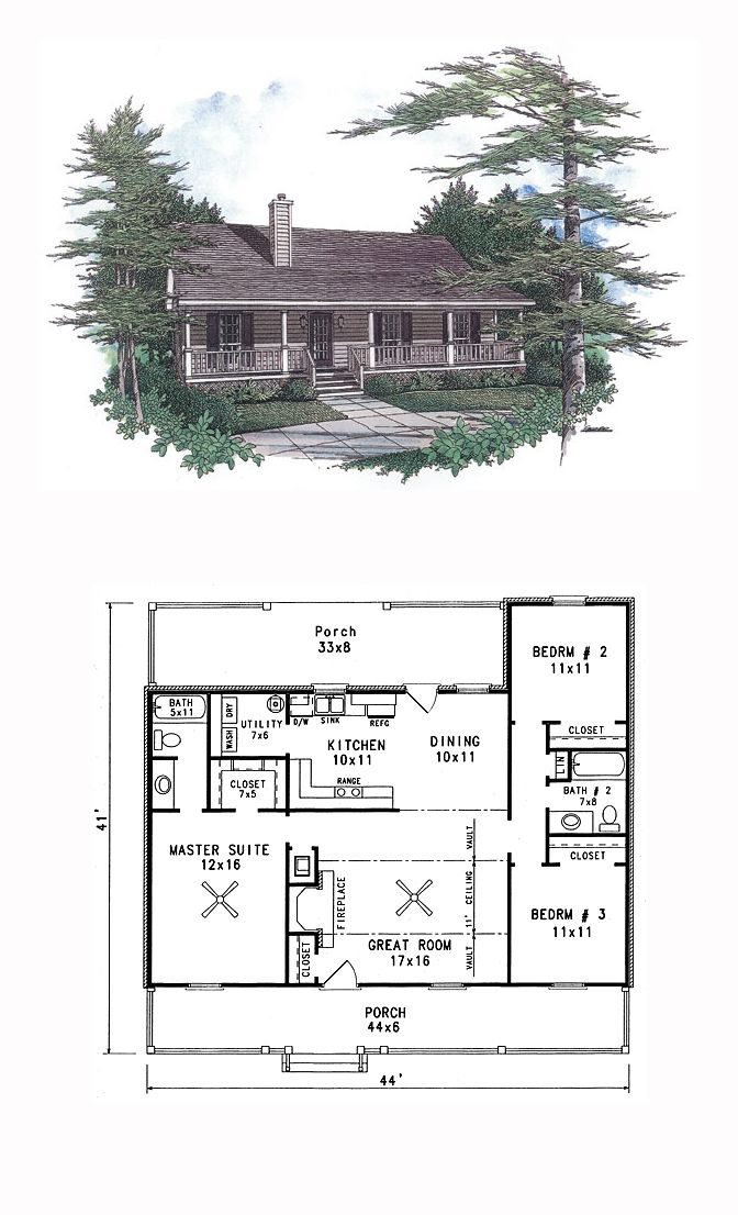 Cabin Cool House Plan Id Chp 36548 Total Living Area 1277 Sq Ft 3 Bedrooms And 2 Bathroom Cabin House Plans Southern House Plans Ranch Style House Plans