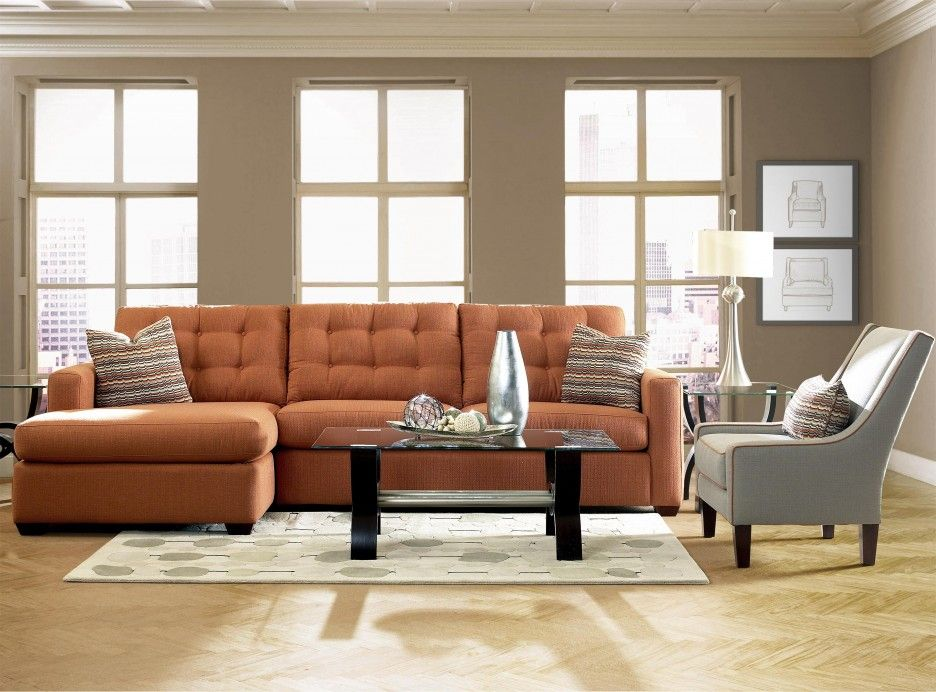 Living Room Orange Tufted Living Room Lounge With Grey Faux Leather Sofa Chair Also White Pa Contemporary Sectional Sofa Livingroom Layout Living Room Chairs