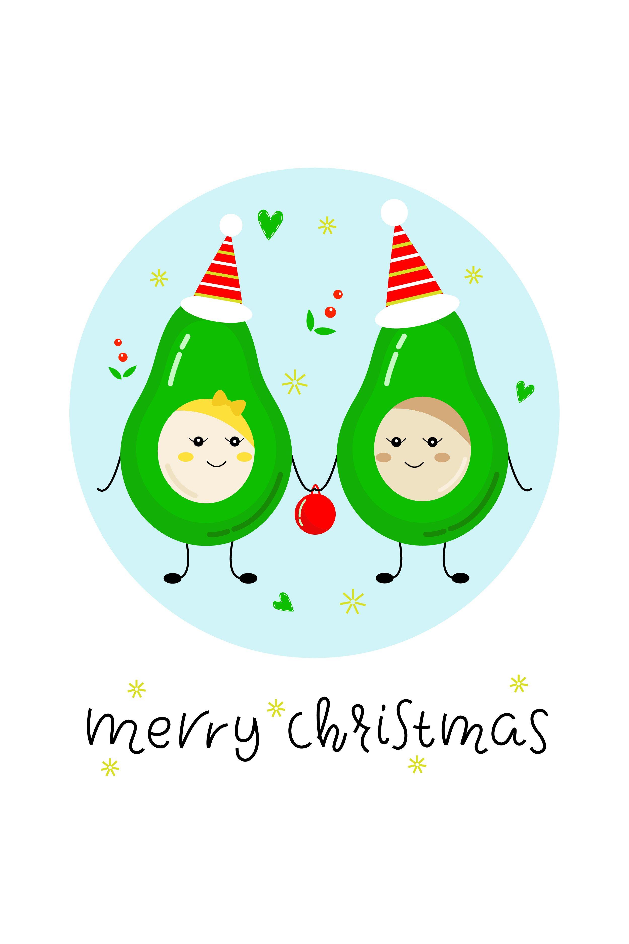 Christmas Sublimation Design Christmas Avocado Printable Kawaii Fruit Christmas Clipart Christmas Gift Tags