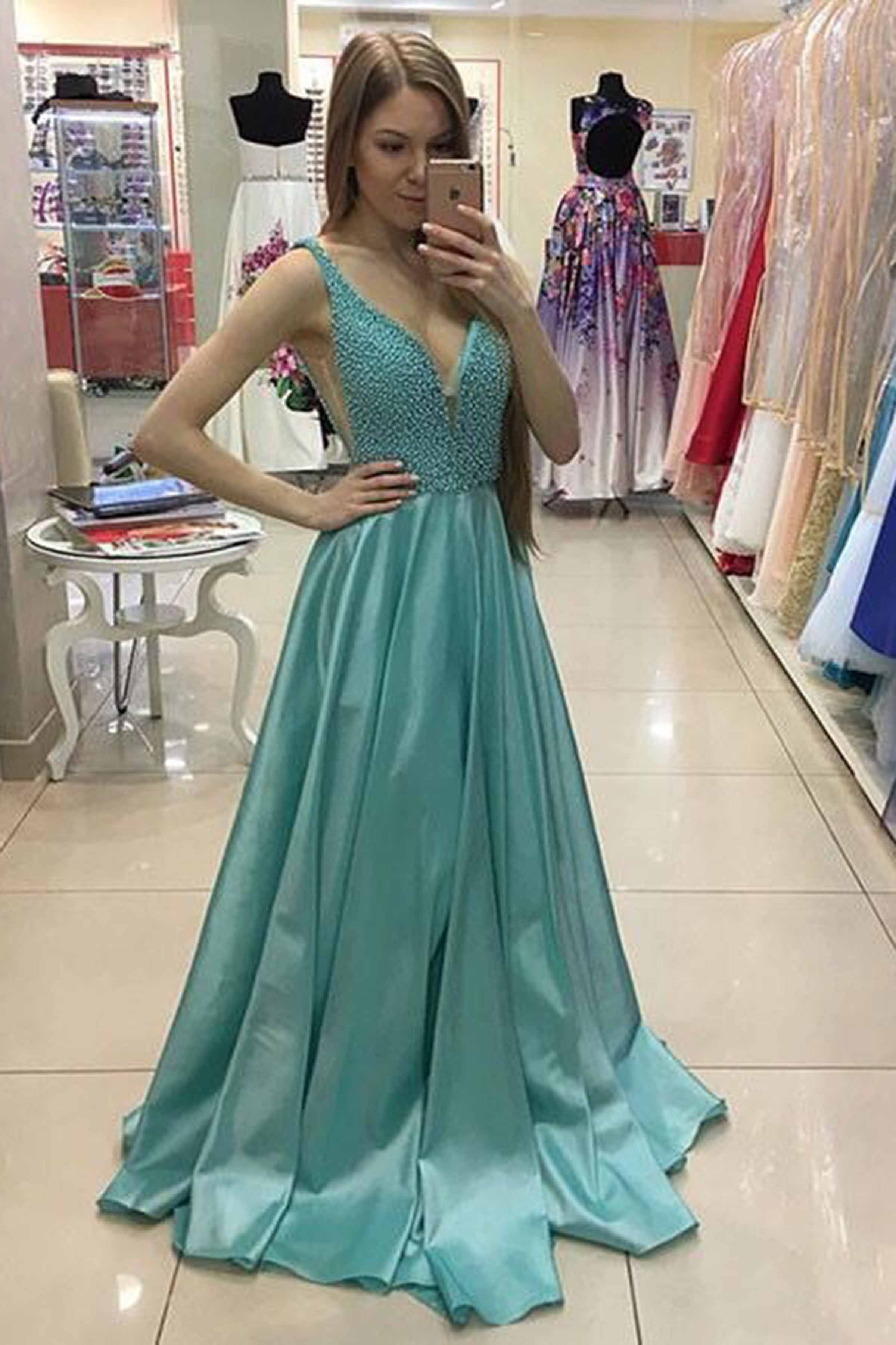 Beaded light green satin prom dress, evening gown, cute long dress ...
