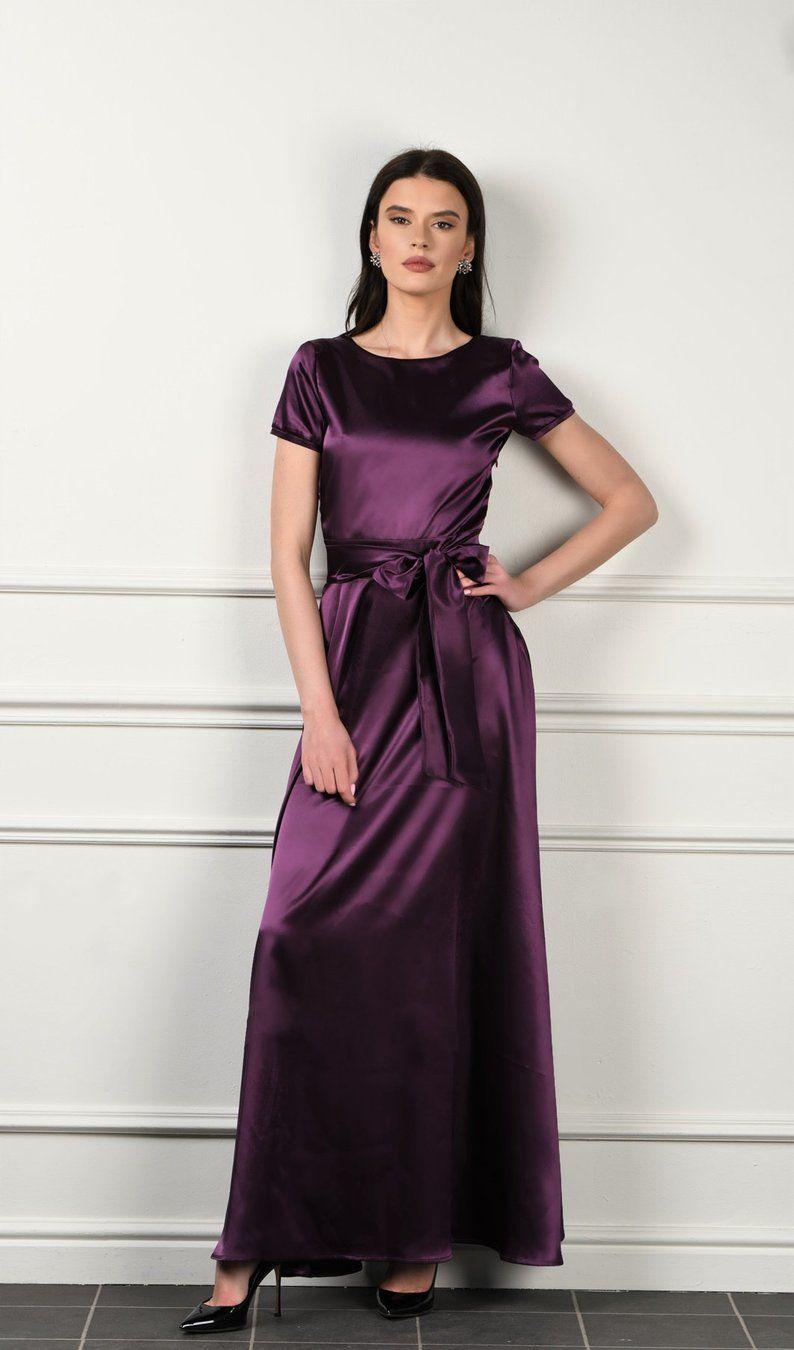 Plum satin maxi dress aline dress with deep v back