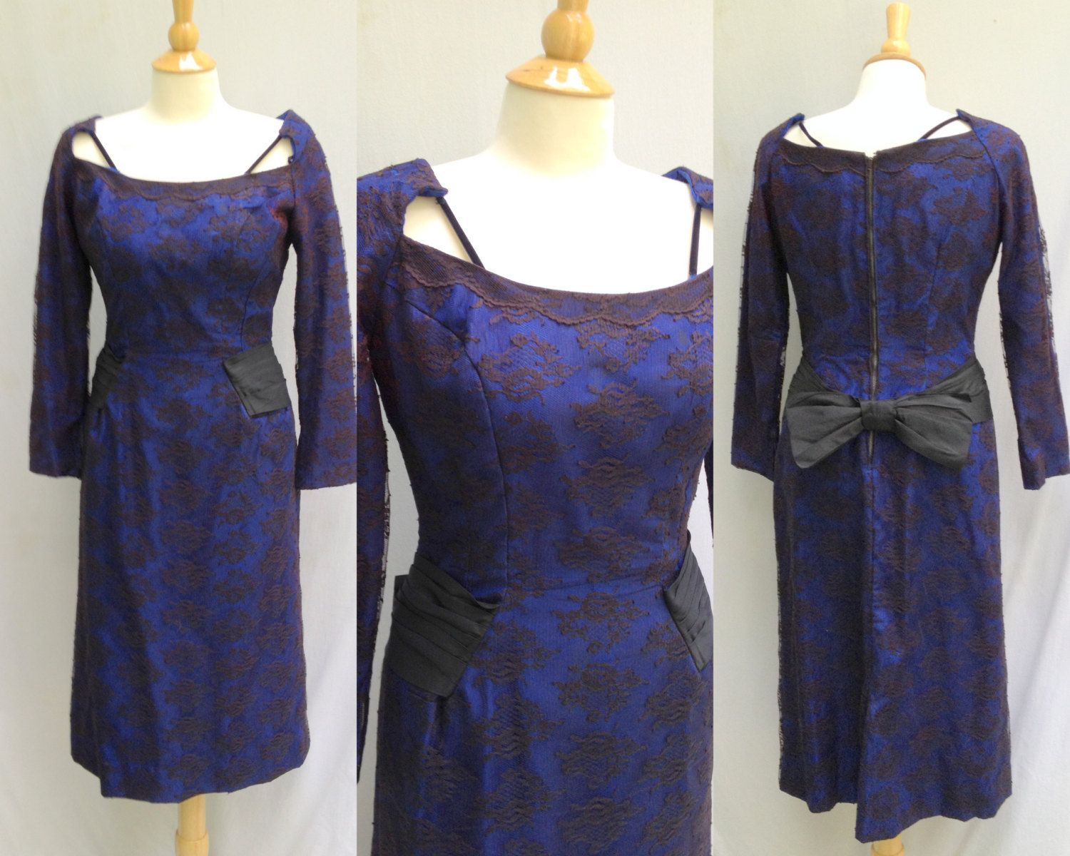 1950s 1960s Oleg Cassini Black Lace and Blue Silk Wiggle Cocktail ...