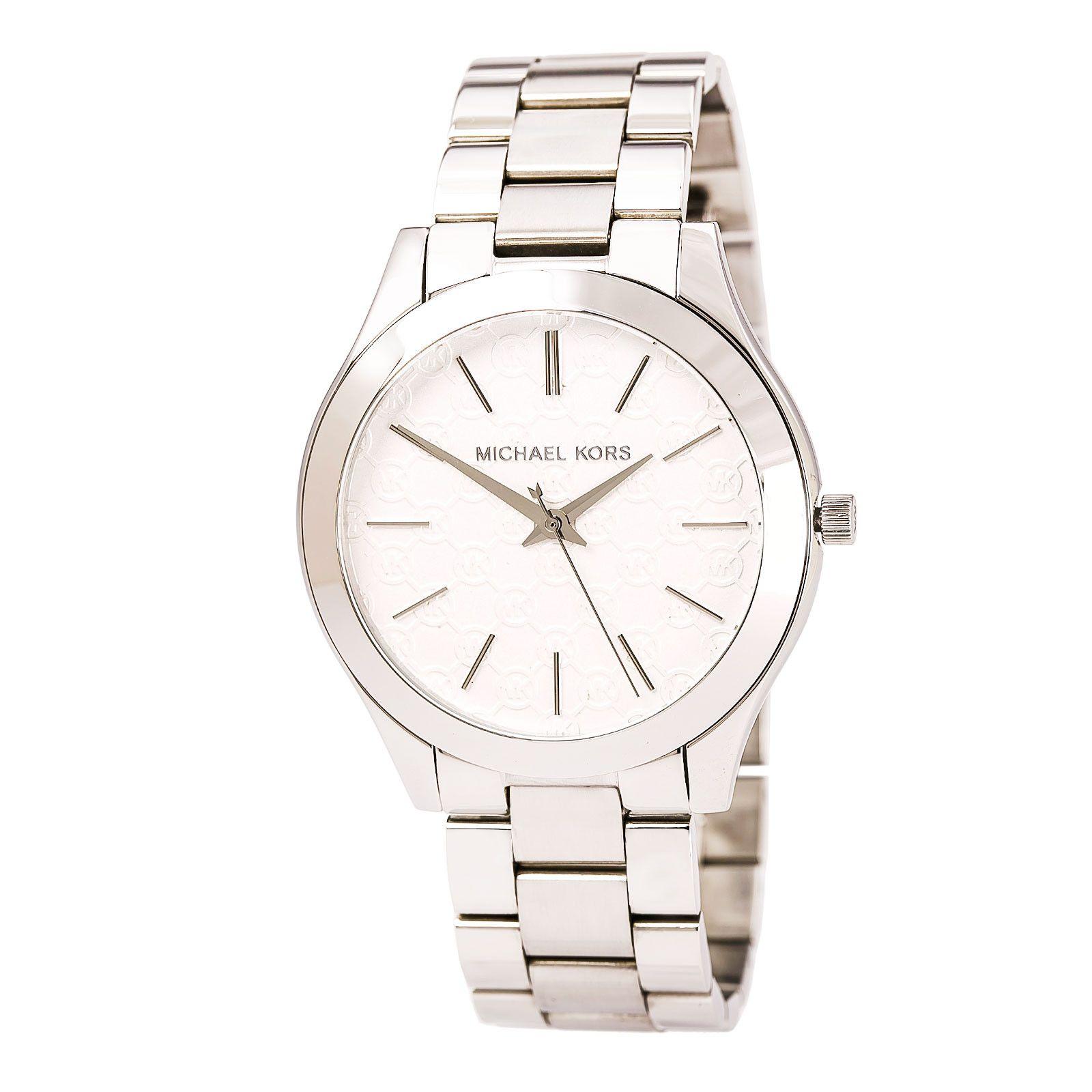 f782aa4e59c4 Michael Kors MK3371 Women s Slim Runway Silver Tone Dial Stainless Steel  Bracelet Watch