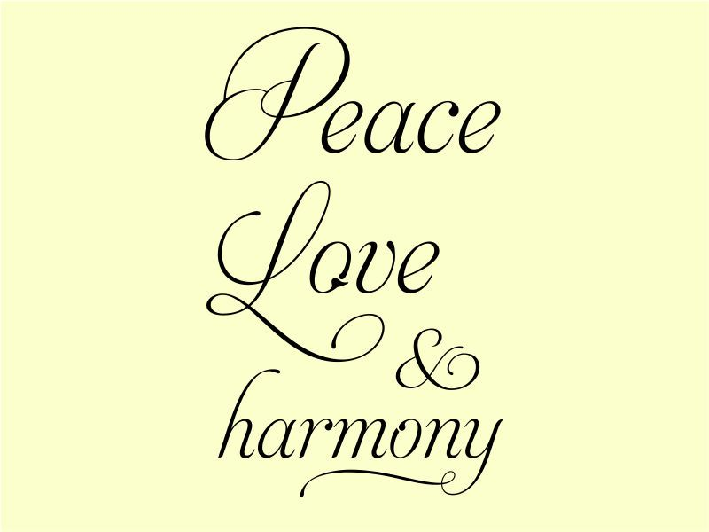 Peace Love Harmony Wall Art Quote Decal Sticker 7 Jpg 800 600 Harmony Quotes Peace And Love Peace