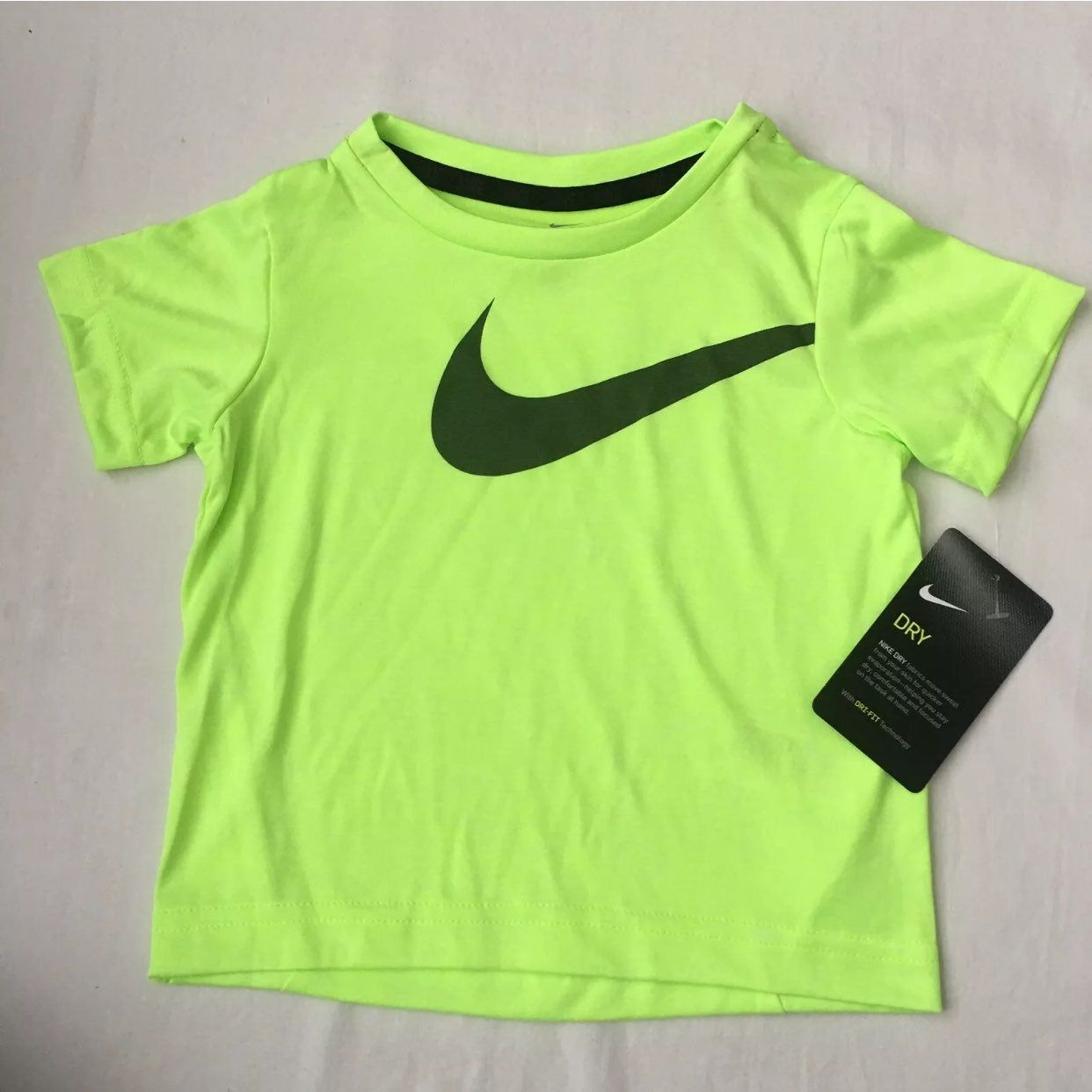 New With Tags Nike Athletic Short Sleeved Shirt Neon Yellow Volt Dri Fit Material Moisture Wicking Tagless Inside Style Nike Neon Kids Shirts Neon Yellow