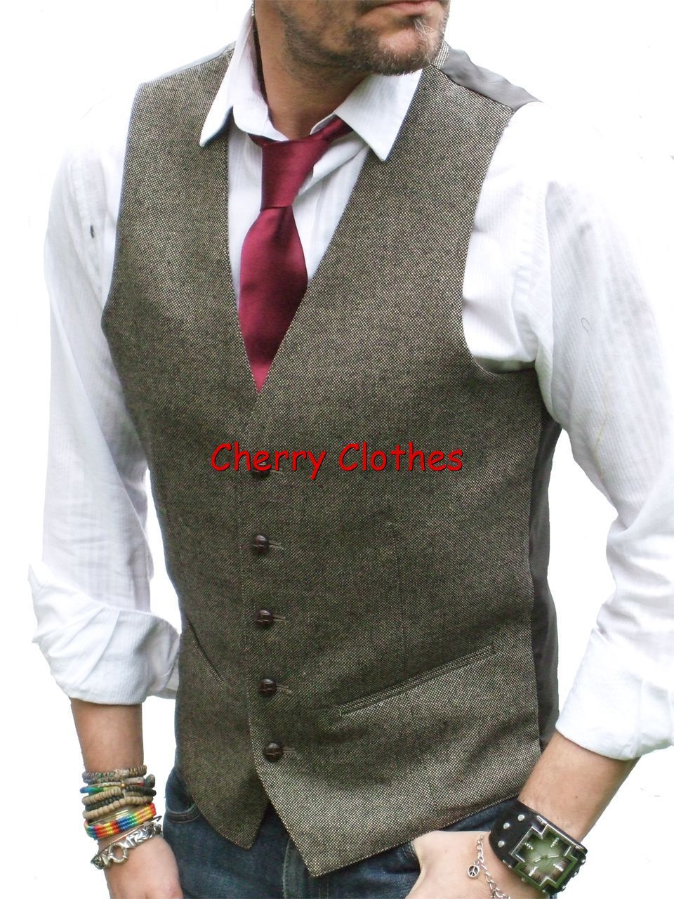Men/'s Blue With Strip Herringbone Tweed Formal Business Waistcoat Casual Vest