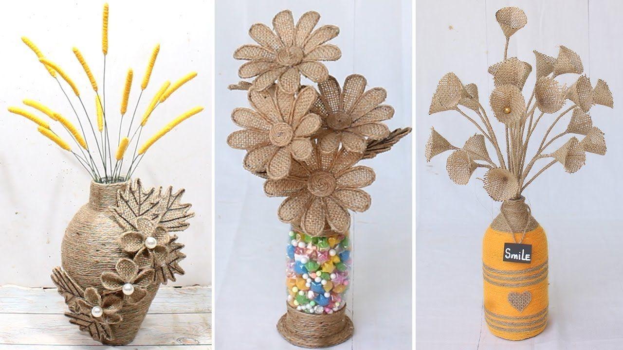 6 Beautiful Flower Vase Decoration Ideas With Jute Rope Home Decor Youtube Flower Vases Decoration Jute Flowers Burlap Flowers