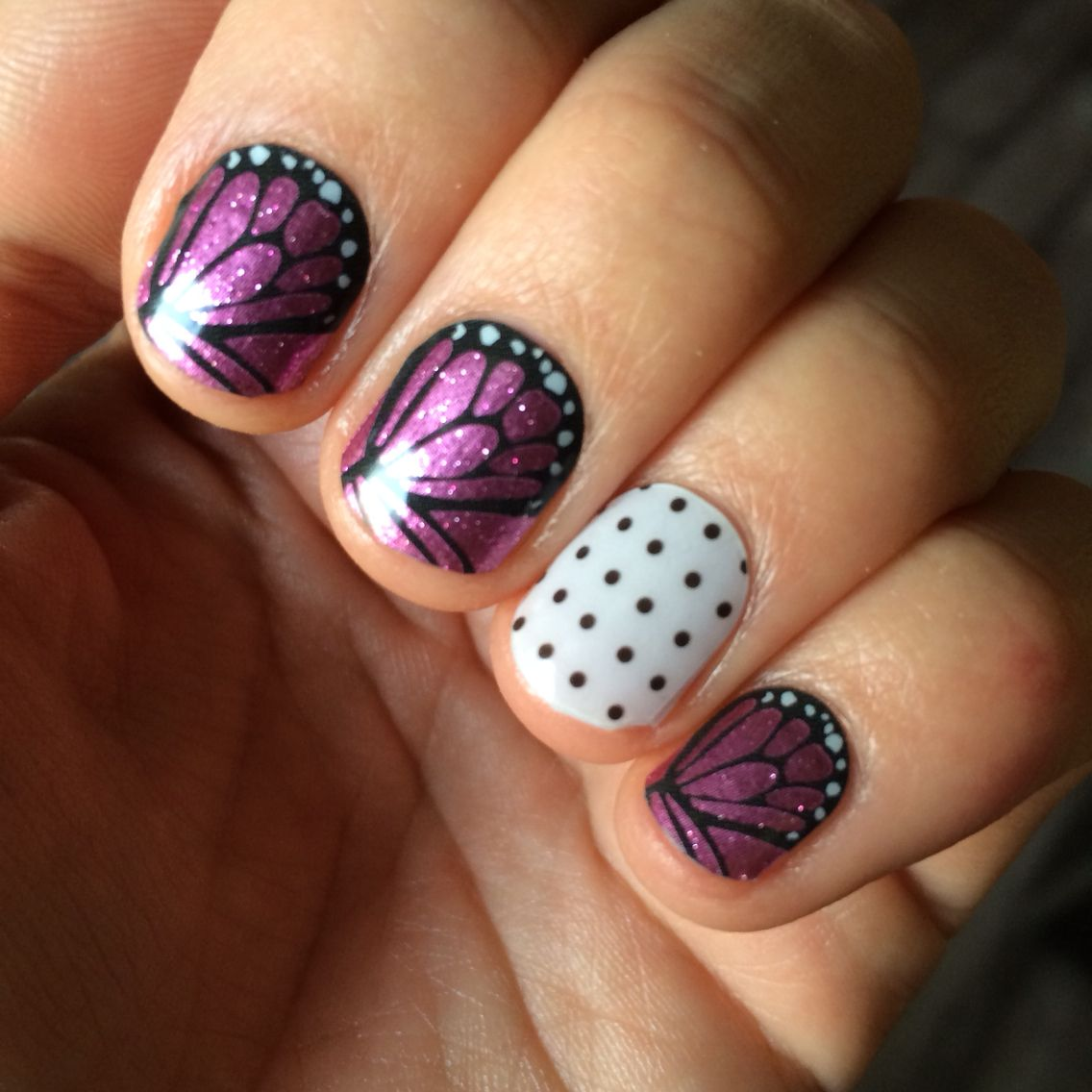Jamberry Butterfly Kisses nail wraps + Black Mini Polka accent nail ...