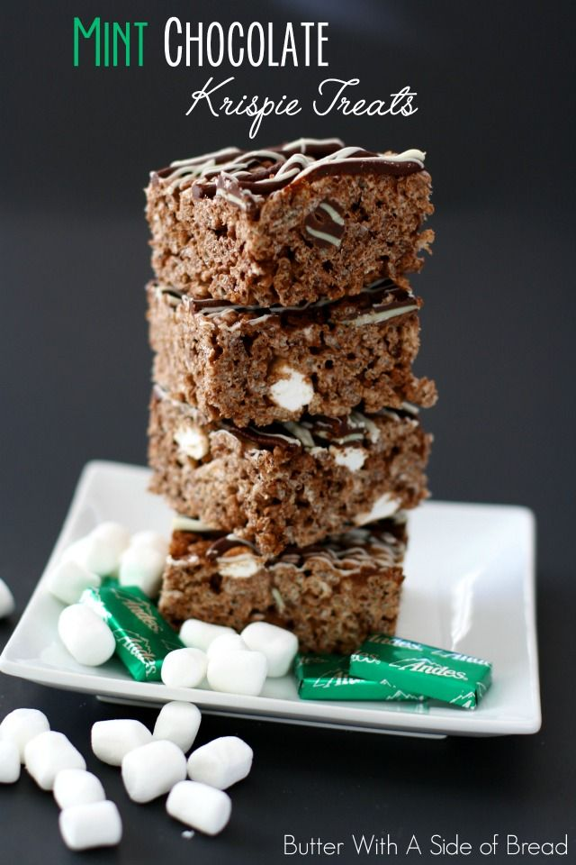 MINT CHOCOLATE KRISPIE TREATS: Butter With A Side of Bread #ricekrispiestreats