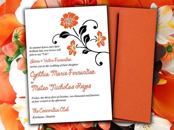 Diy Wedding Invitation Template Field Flowers Autumn Pumpkin Burnt Orange Black Printable Word