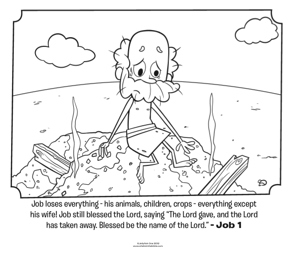 Kids coloring page from what 39 s in the bible featuring job for Coloring pages everything