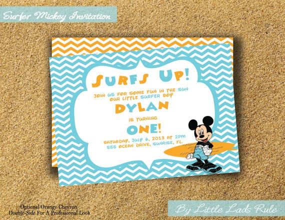 New Theme Disney Inspired Surfer Mickey Mouse Birthday Party