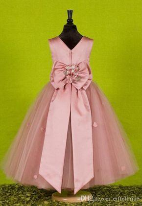 eced0e1d0f Por encargo hermosos vestidos de niñas de flores de color rosa para las  bodas 2016 bastante