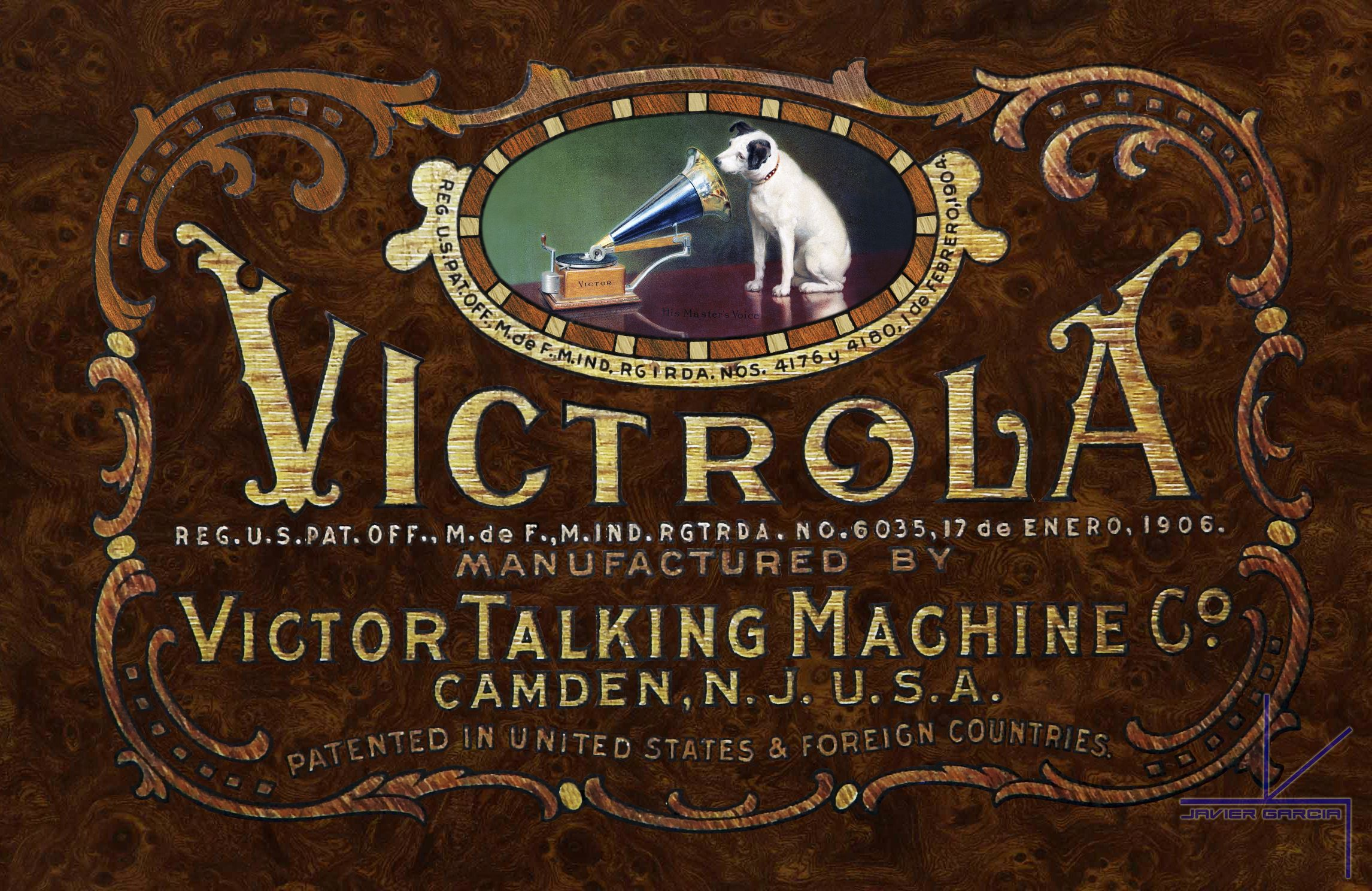 1906 victrola gramophone logo photographed and enhanced featuring 1906 victrola gramophone logo photographed and enhanced featuring nipper listening to his masters voice fandeluxe Choice Image