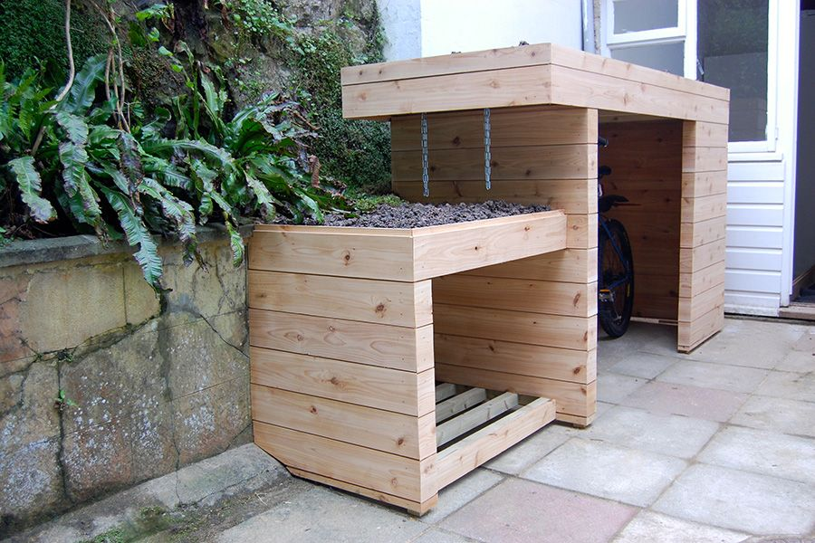 Bin Storage Ideas For Small Front Gardens Google Search Outside Bike Storage Outdoor Bike Storage Garden Storage