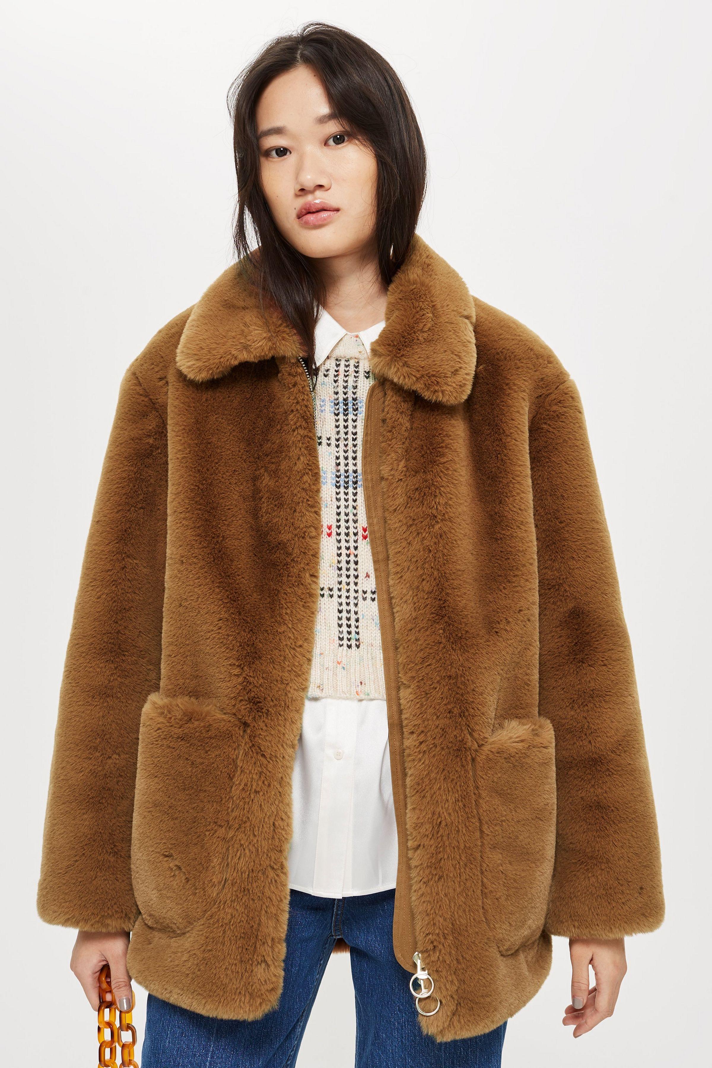 Faux Fur Zip Up Jacket in 2020 Fashion, Jackets, Fur coat