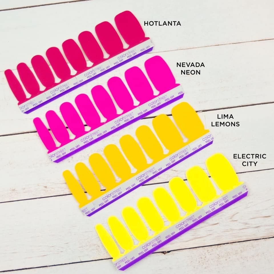 Want To See How Color Street S Neons Compare Hotlanta Vs Nevada Neon And Lima Lemons Vs Electric City Color Street Neon Colors Color Street Nails