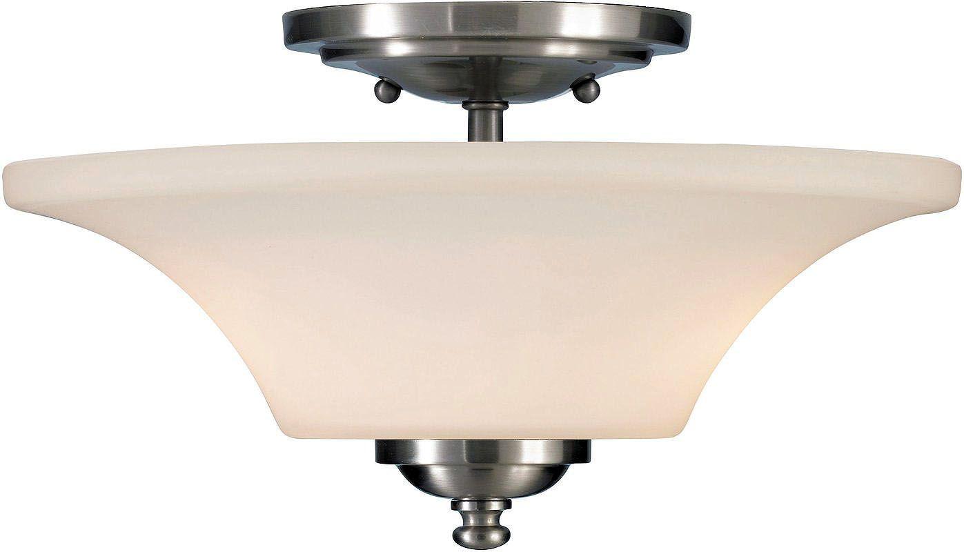 Feiss SF240 Barrington 2 Light Semi-Flush Ceiling Fixture Brushed Steel Indoor Lighting Ceiling Fixtures Semi-Flush