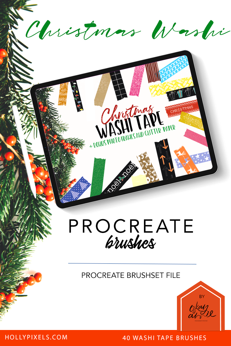 Christmas Washi Brushes For Procreate By Okayannie Designs In 2020 Digital Photo Frame Washi Collage Maker