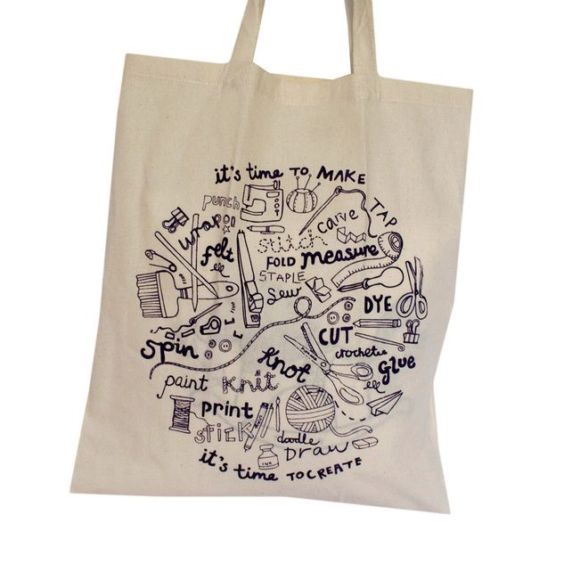 6f918b96c Crafty natural screen printed tote bag hand drawn lettering, by Mellybee on  Folksy, £6.50