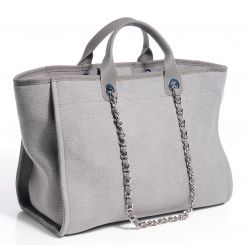 08cf92981258 CHANEL Canvas Deauville Large Tote Grey - NEW. This lovely bag is crafted  of fine