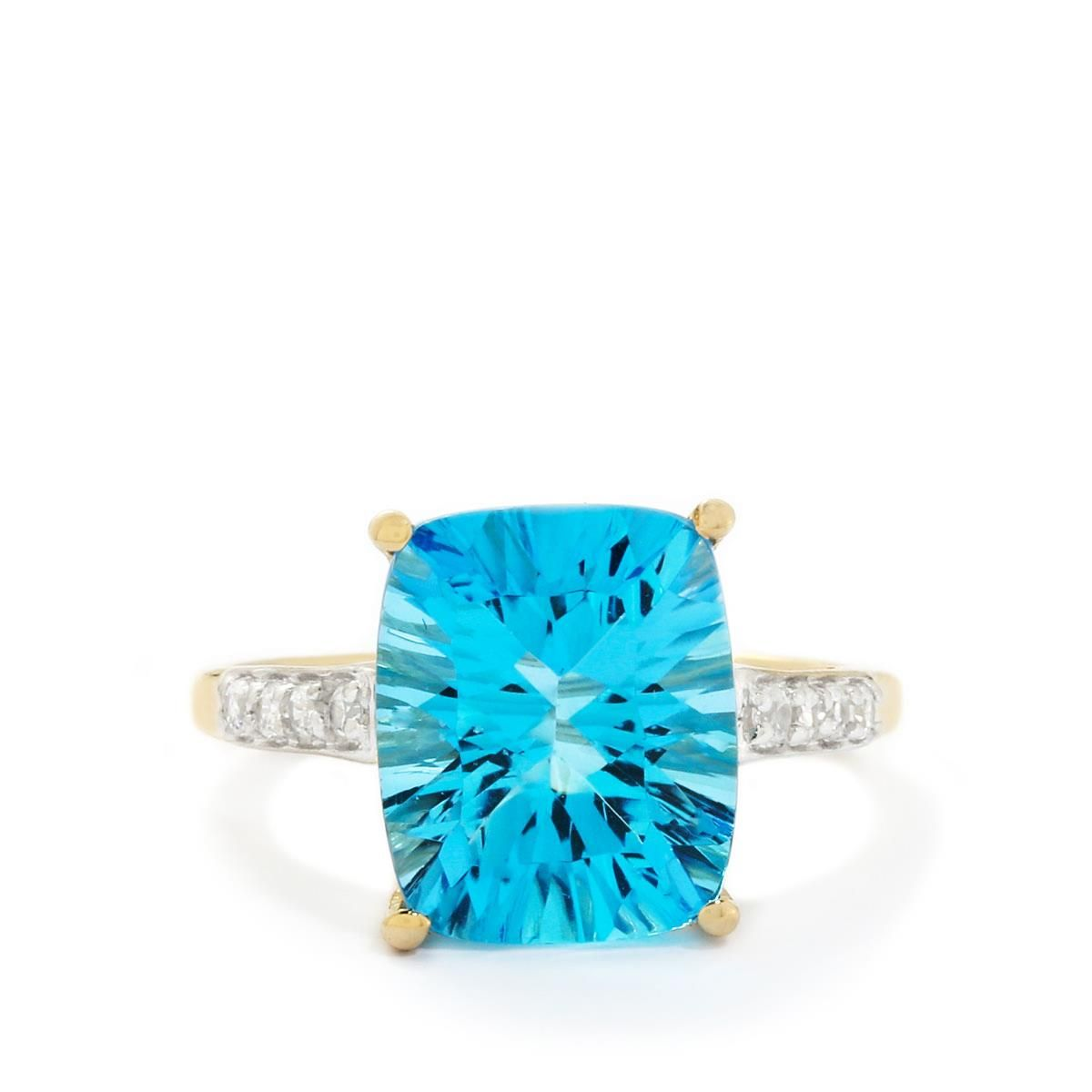 A sumptuous Ring from the Jacque Christie collection, made of 9K Gold featuring 6.53cts of amazing Swiss Blue Topaz and White Zircon.
