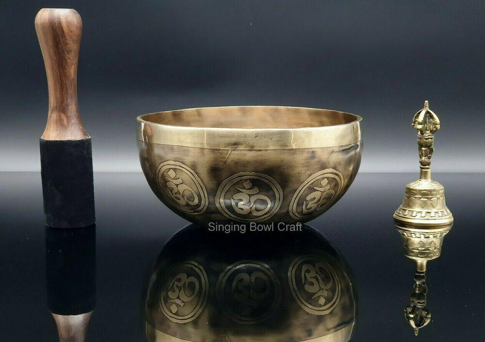 Details About Om Etching Singing Bowl 7 Inches Tibetan Singing