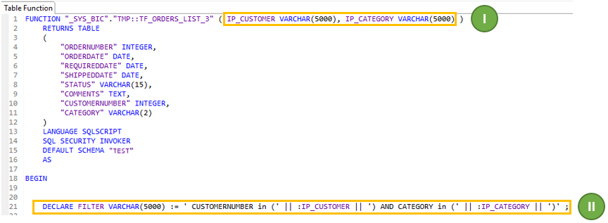 Passing multi-value input parameter from Calculation View to Table
