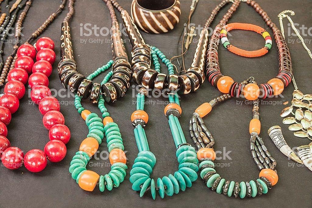 Ethnic Style Black Beige Orange Handmade Stretch Necklace /& Bracelet Set