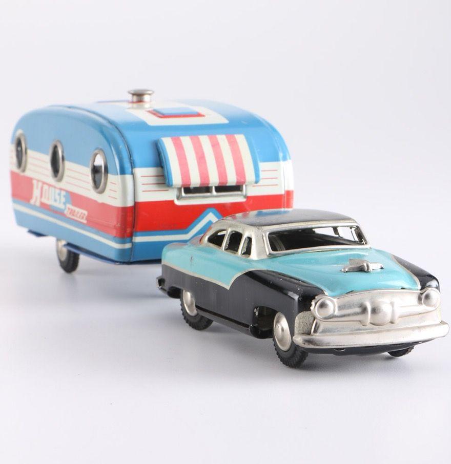 Vintage Tin Toy Car and House Trailer : EBTH