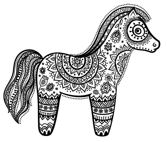 Mandala de cheval coloriage a imprimer - Mandala de chevaux ...