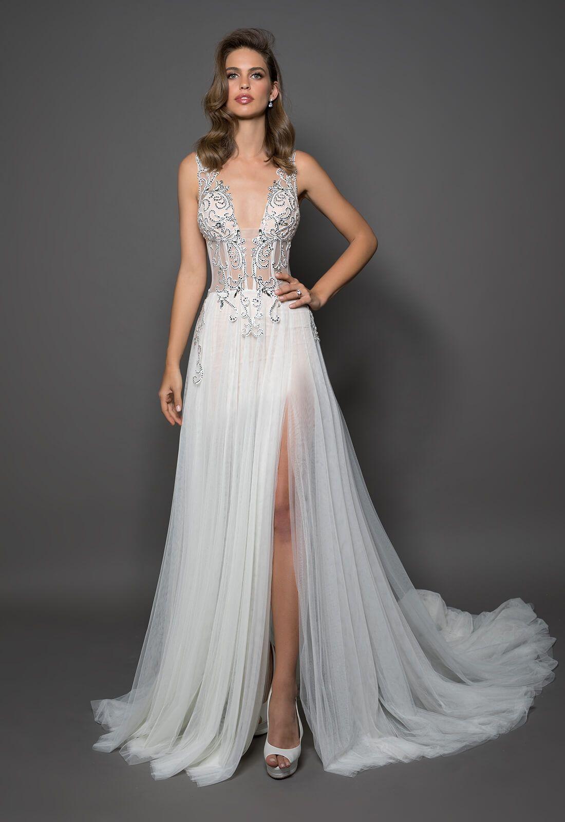 Sleeveless vneck sheath wedding dress with crystal corset bodice