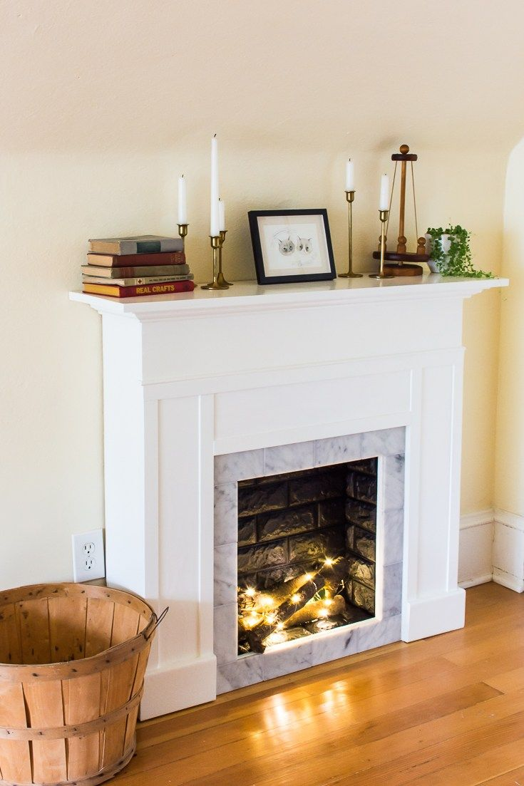 Diy faux fireplace mantel with tile and faux brick final fireplace
