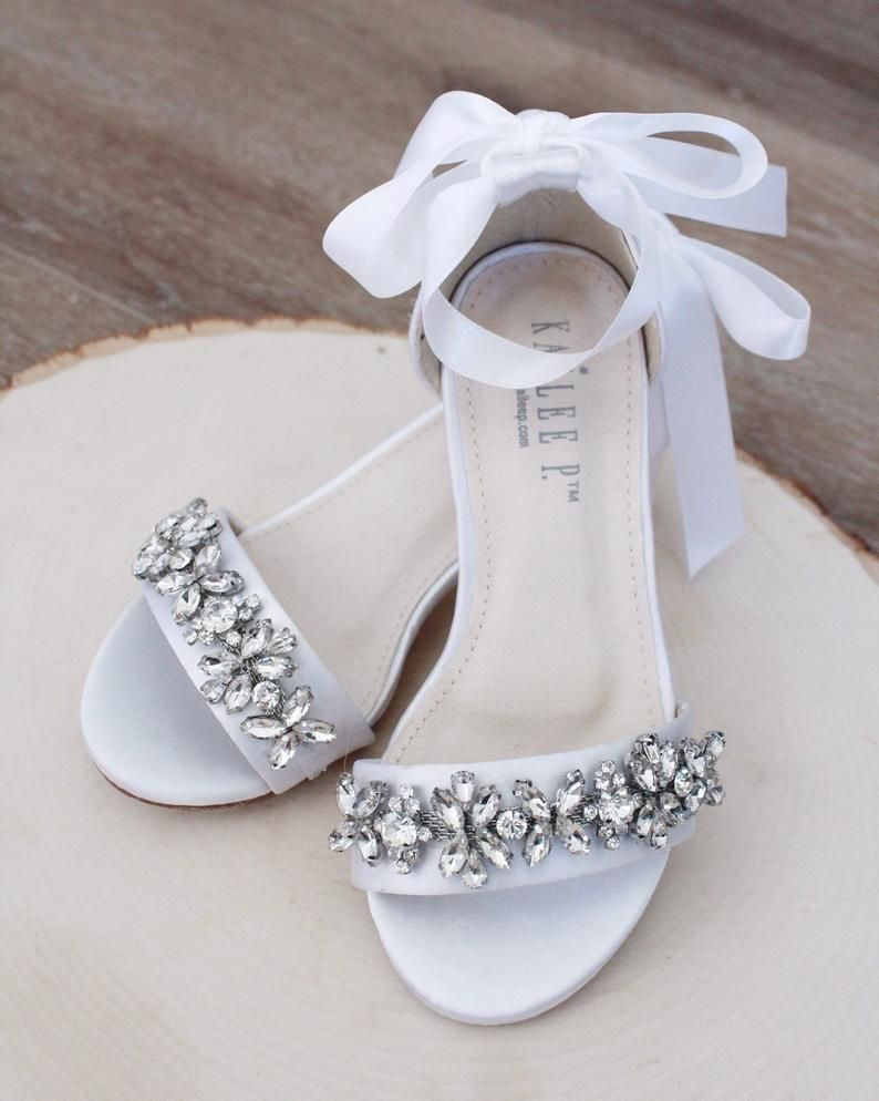 White Satin Block Heel Sandals With Floral Rhinestones On Etsy In 2020 Flower Girl Shoes Block Heels Sandal Wedding Sandals