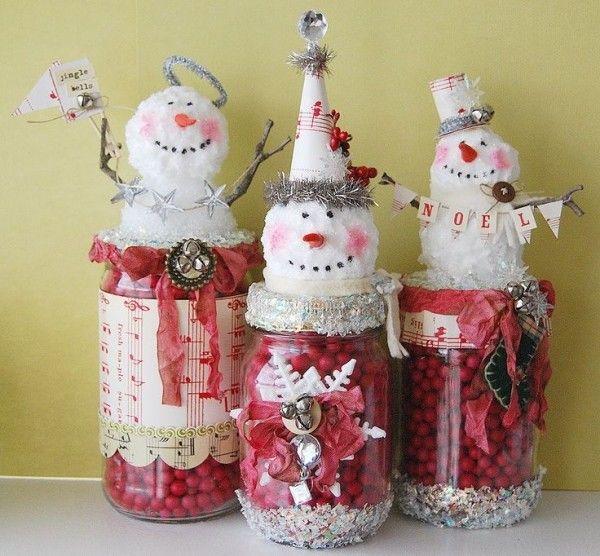 Inexpensive Christmas Craft Ideas Part - 29: Cheap Christmas Crafts Kids Cotton Balls Snowmen Glass Jars
