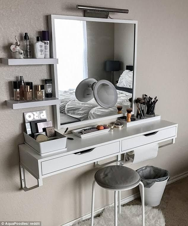 Attractive Small Floating Makeup Vanity Fits Into Even The Tiniest Bedroom