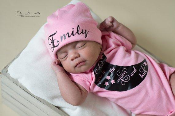 Personalized newborn hat...newborn baby hat...pink newborn hat...new baby  hat...baby girl hat...take e3089d0a0b9